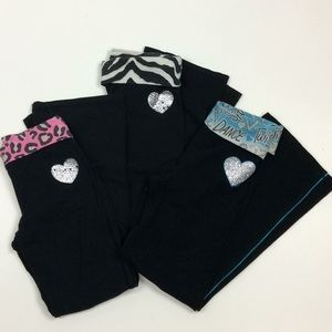 Justice Lot of 3pr Girls Fold Over Yoga Pants 7/8